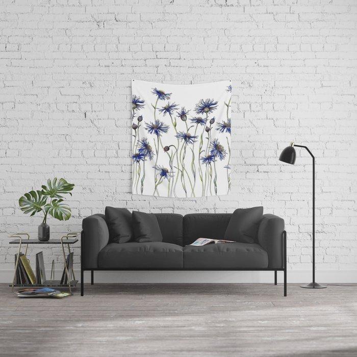 Blue Cornflowers, Illustration Wall Tapestry