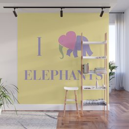 I Heart Elephants Wall Mural