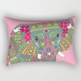painted elephant pink spot Rectangular Pillow