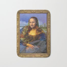 Mona (Kevin) Lisa : Satire + Contemporary Fine Art Bath Mat