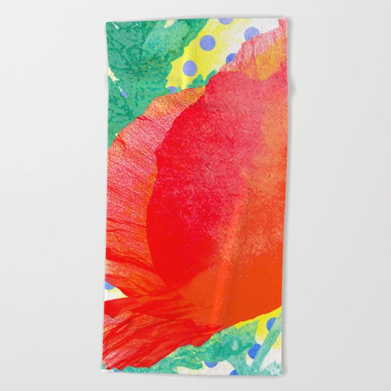 Poppy and dots Beach Towel