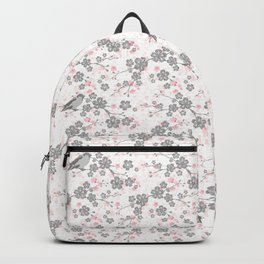 Silver and pink cherry blossom birds Backpack