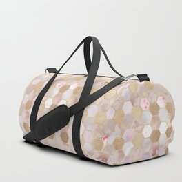 Hexagonal Honeycomb Marble Rose Gold Duffle Bag