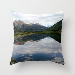 Reflection of the Red Mountains on Crystal Lake Throw Pillow
