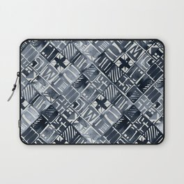 Simply Tribal Tiles in Indigo Blue on Lunar Gray Laptop Sleeve