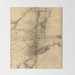Map of the Province of New York by William Faden (1776) Throw Blanket