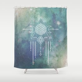 Mandala Flower of Life in Turquoise Stars Shower Curtain