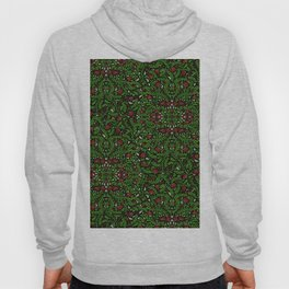 Red Flowers with Green and White Leaves Hoody