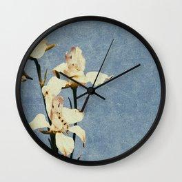 White Delphinium of Forgetfulness Wall Clock