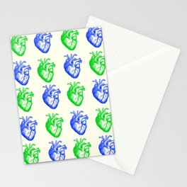 Anatomic hearts print (green and blue) Stationery Cards