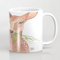 oana befort Mugs featuring Lovely Deer by Oana Befort