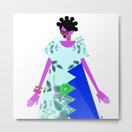 Bantu Knots and a Blue Dress Metal Print