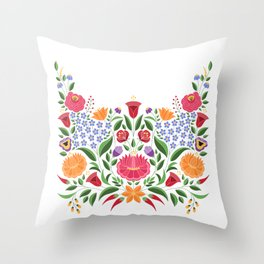 Hungarian folk pattern – Kalocsa embroidery flowers Throw Pillow