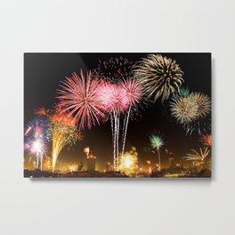 Leipzig Germany Fireworks On New Year's Eve Metal Print