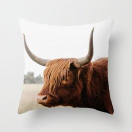 Scottish Highlander cow in national park   Cattle in Nature   Veluwe park, the Netherlands   Travel photography Throw Pillow