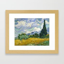 Van Gogh, Wheat Field with Cypresses, 1889 Framed Art Print