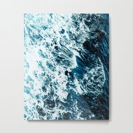 Water, Sea, Ocean, Wave, Blue, Nature, Modern art, Art, Minimal, Wall art Metal Print