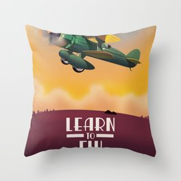 Learn To Fly, vintage flight travel poster Throw Pillow