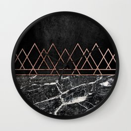 Elegant Rose Gold Triangles & Black & White Marble Wall Clock