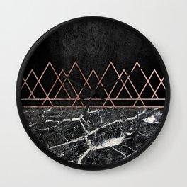 Elegant Rose Gold Triangles Black White Marble Wall Clock