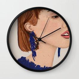 Navy blue chic girl Wall Clock
