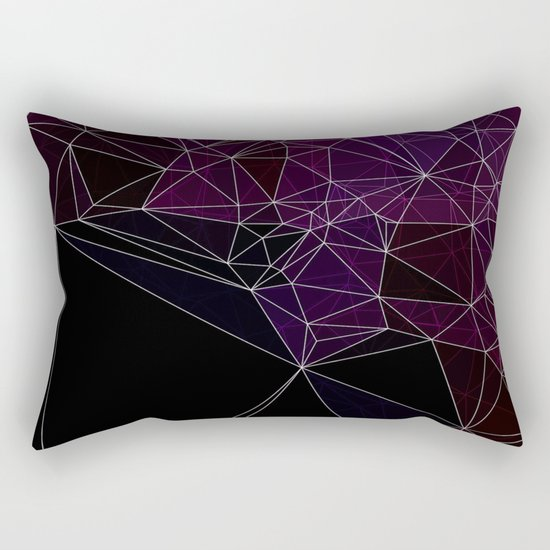 Polygonal purple, black and white Rectangular Pillow