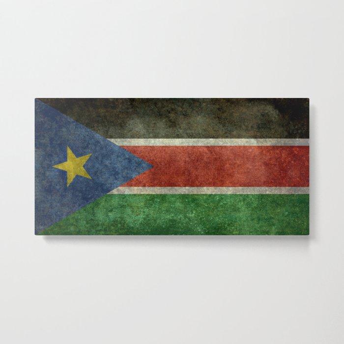 Republic of South Sudan national flag - Vintage version Metal Print