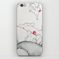 pigs iPhone & iPod Skins featuring Flying Pigs by Joshua James Stewart