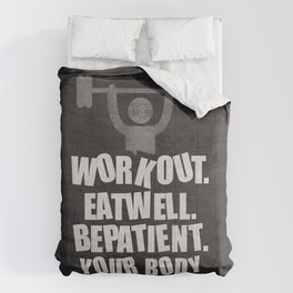 Lab No. 4 - Work Out Eat Well Be Patient Gym Motivational Quotes Poster Comforters