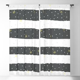 Yellow flying dandelion seeds simple Christmas seamless pattern and Grey Pastel Confetti on Balck and white Stripes Background Blackout Curtain