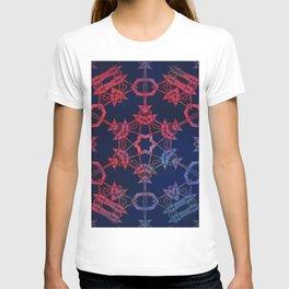 Blue and red glow tribal mandala T-shirt