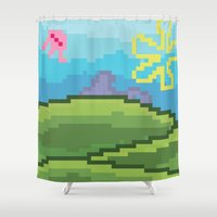 bikini Shower Curtains featuring Bikini Bottom by JayPii