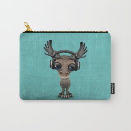 Cute Musical Moose Dj Wearing Headphones Blue Carry-All Pouch