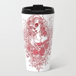 Sexy Woman zombie WITH Flower - Light Coral Travel Mug