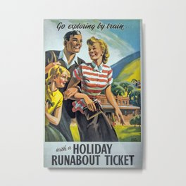 Go exploring by train Vintage Travel Poster Metal Print