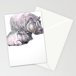 Mother and Baby Animals Watercolor Hippo Mom and Hippo Baby Hippopatamus Stationery Cards