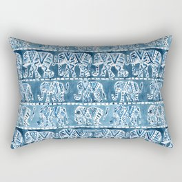 ELEPHANT SAFARI Tribal Indigo Ikat Pattern Rectangular Pillow