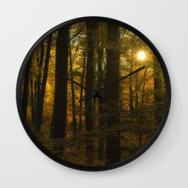 Sunset in the autumn forest Wall Clock