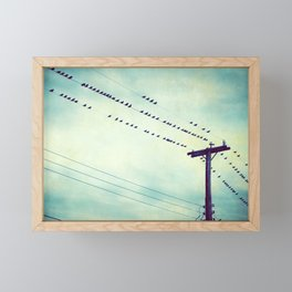 Teal Birds on Wire Photography, Turquoise Bird Wires, Aqua Black Nature Flock Framed Mini Art Print