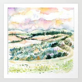 Dusk Hills 1 Art Print