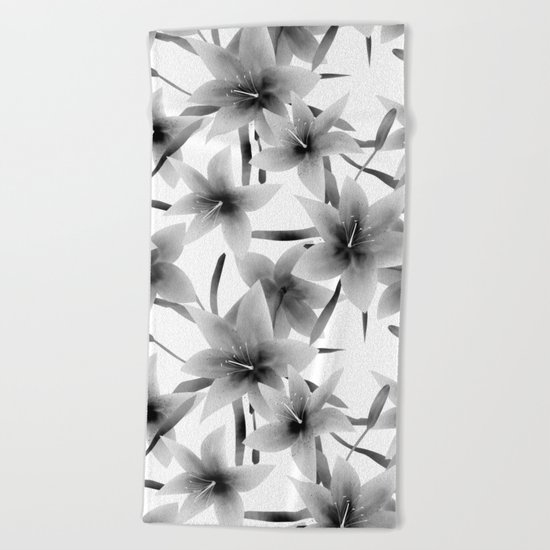 Lily. Black and white pattern . Beach Towel