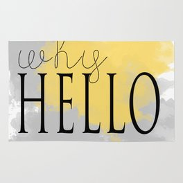 Why hello typography watercolor art Rug