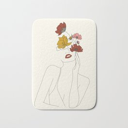 Colorful Thoughts Minimal Line Art Woman with Flowers Bath Mat