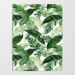 Green leaf watercolor pattern Poster