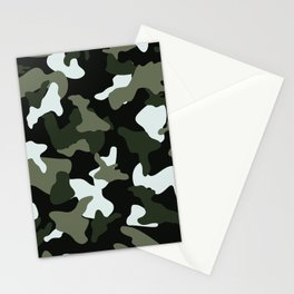 Green White camo camouflage army pattern Stationery Cards
