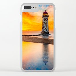 Welsh Lighthouse Sunset Clear iPhone Case