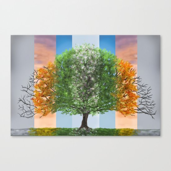 The seasons of the year in a tree Canvas Print