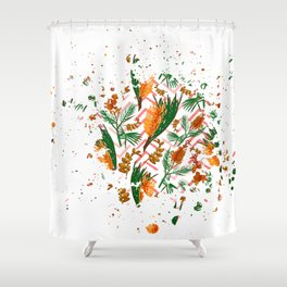 Australian Native Floral Graphic Print Shower Curtain
