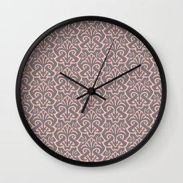Art Nouveau Pattern Pink Gray Wall Clock