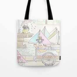 Boston Terrier and Sailboats in Paris Fountain Tote Bag